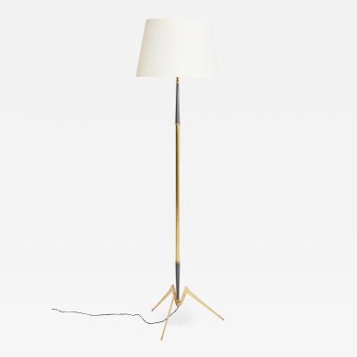 Mid Century Brass and Gunmetal Floor Lamp
