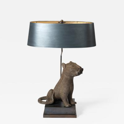 Mid Century Bronze Leopard from Benin Purpose Built Lamp Construction