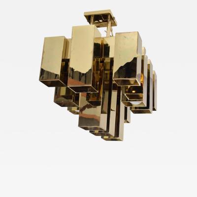 Mid Century Brutaiist Chandelier Brass