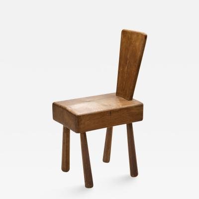 Mid Century Brutalist Solid Oak Chair France 1960s