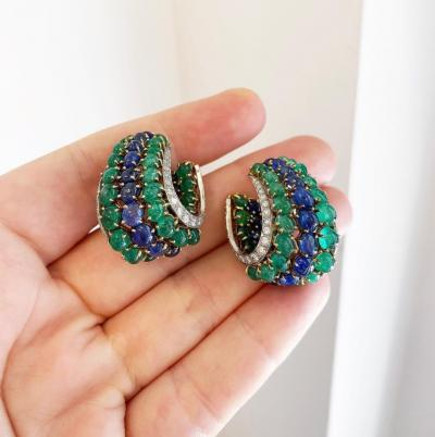 Mid Century Cabochon Emerald and Sapphire Hoop Earrings with Diamond Borders