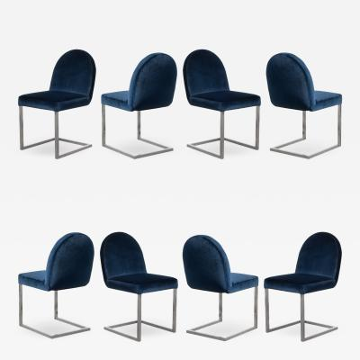 Mid Century Cantilevered Chrome Dining Chairs in Navy Velvet Set of 8