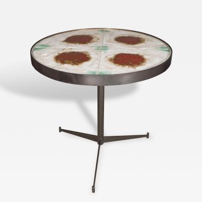 Mid Century Ceramic Tile Top Table with Bronze Tripod Base Signed Circa 1950