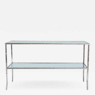 Mid Century Chrome Faux Bamboo Console Table