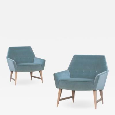 Mid Century Club Chairs in Sea Velvet White Washed Frames Pair