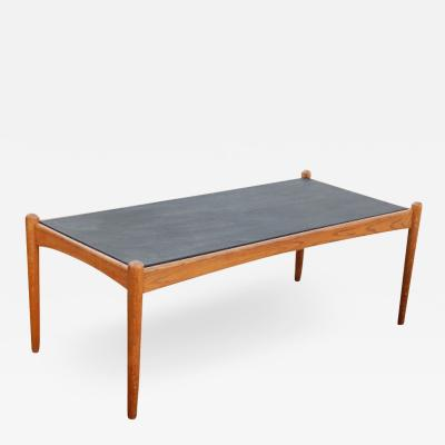 Mid Century CoffeeTable With Black Slate Top