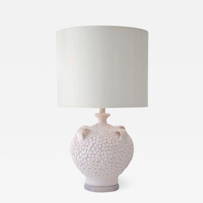 Mid Century Coral Glazed Ceramic Jar Form Table Lamp