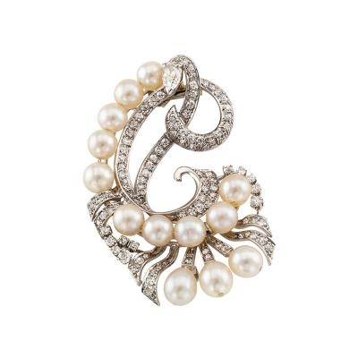 Mid Century Cultured Pearl And Diamond Clip Brooch