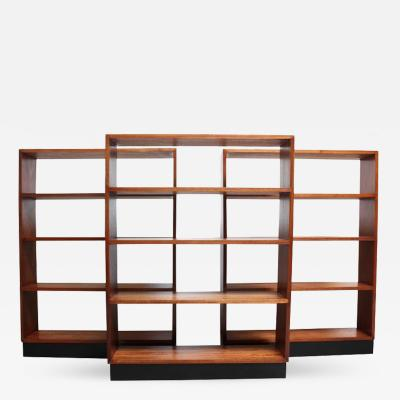 Mid Century Custom Mahogany Book Shelves with Ebonized Plinth Bases