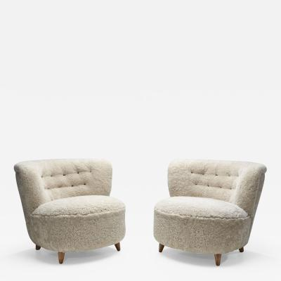 Mid Century Danish Cabinetmaker Lounge Chairs in Sheepskin Denmark ca 1950s