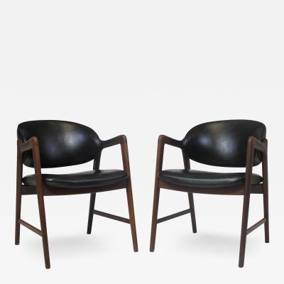 Mid Century Danish Walnut Arm Chairs in Black