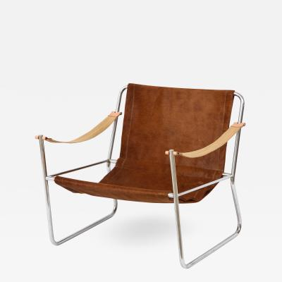 Mid Century Deerskin and Chrome Sling Chair
