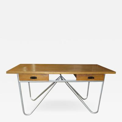 Mid Century Desk with Tubular Base Design