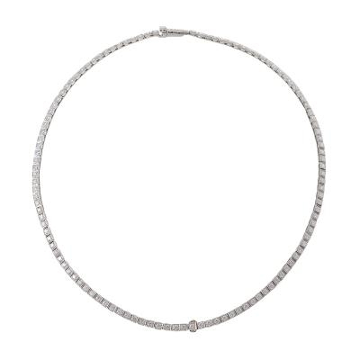 Mid Century Diamond and Platinum Line Necklace