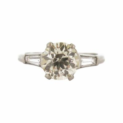 Mid Century Diamond with Tapered Baguette Accents Engagement Ring