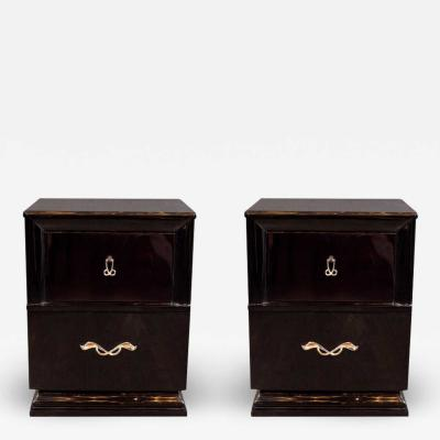 Mid Century Ebonized Walnut End Tables Nighstands with Sculptural Nickeled Pulls
