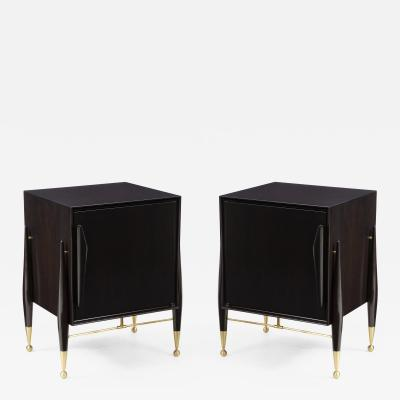 Mid Century Ebonized Walnut Night Stands
