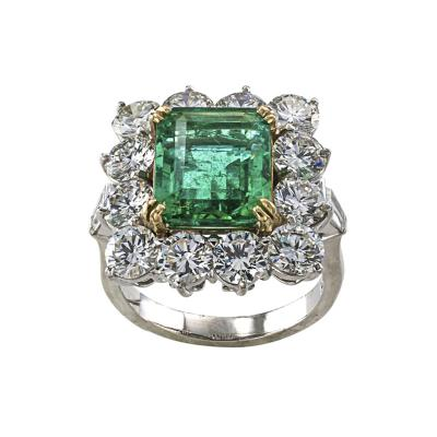 Mid Century Emerald and Diamond Cocktail Ring