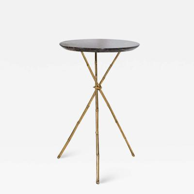 Mid Century Faux Bamboo Brass Marble Side Table
