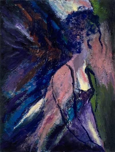 Mid Century Figurative Oil On Canvas