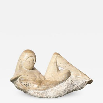 Mid Century Figurative Travertine Sculpture Signed Constantina Iconomopulos