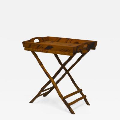 Mid Century Folding Bamboo Tray Table
