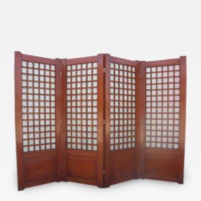 Mid Century Four Panel Abalone and Mahogany Screen