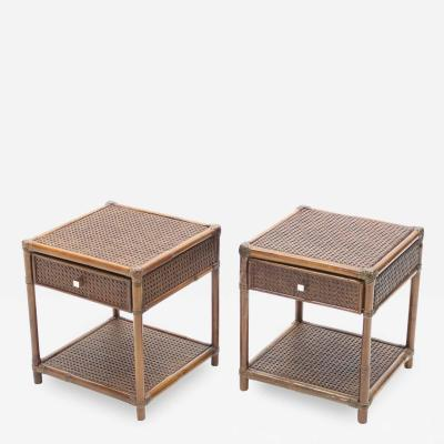 Mid Century French Riviera Cane Bamboo brass night stands 1960s