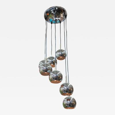 Mid Century German 7 Orb Chrome Chandelier