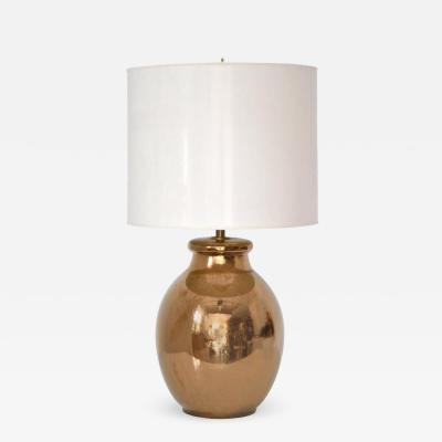 Mid Century Gilt Crackle Glazed Ceramic Jar Form Table Lamp