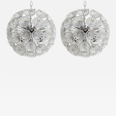 Mid Century Glass Flower Sputnik Chandelier