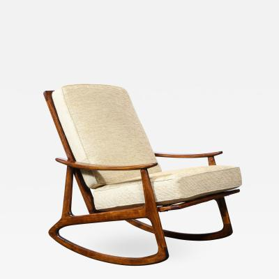 Mid Century Hand Rubbed Walnut Rocking Chair in Holly Hunt Champagne Upholstery