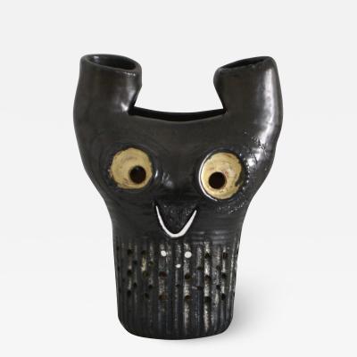 Mid Century Hand Thrown Ceramic Owl Form Sculpture