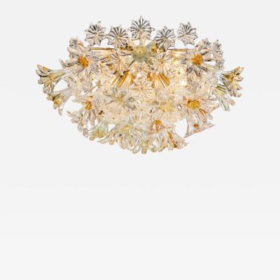 Mid Century Handblown Murano Stylized Floral Translucent Amber Flush Mount