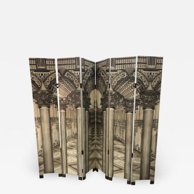 Mid Century Italian Architectural 6 Panel Room Screen
