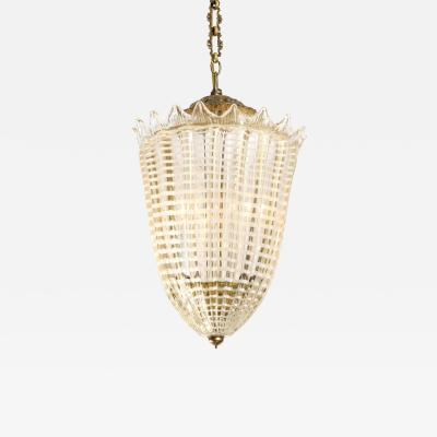 Mid Century Italian Gold and White Conical Fluted Murano Glass Pendant