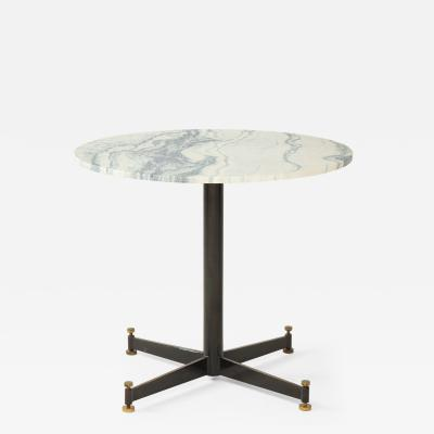 Mid Century Italian Metal and Marble Caf Table with Brass Details