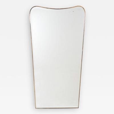 Mid Century Italian Modern Bevelled Mirror with Brass Frame