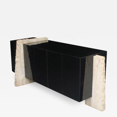 Mid Century Italian Post Modern Black Lacquer Travertine Cabinet or Credenza