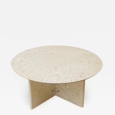 Mid Century Italian Post Modern Circular Coffee Table in Marble with X Base