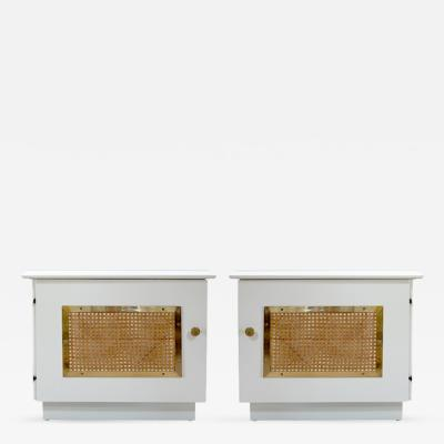 Mid Century Lacquered Hollywood Regency Nightstands Pair