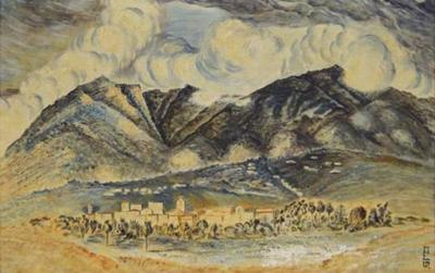 Mid Century Landcape of Mountains and Village
