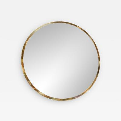 Mid Century Large Circular Brass Mirror Italy 1950s