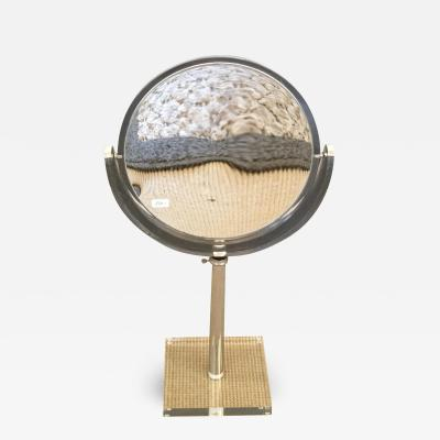 Mid Century Lucite and Chrome Adjustable Table Mirror