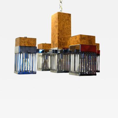 Mid Century Mid Century Modern Burl Wood Chrome Hanging Chandelier 5 Arm