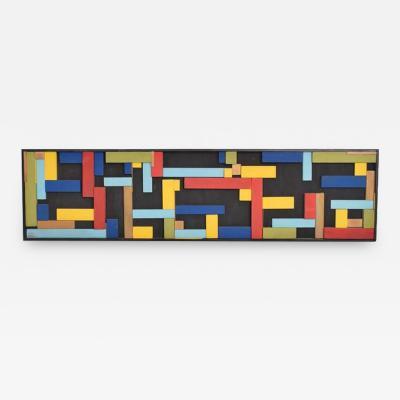 Mid Century Modern Abstract Art Brutalist Wood Blocks Unsigned Modrian Era