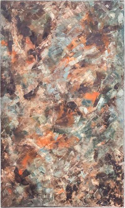 Mid Century Modern Abstract Oil in Canvas