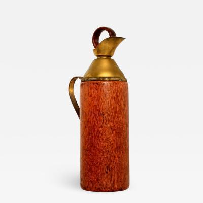 Mid Century Modern Aldo Tura Teak Wood and Brass Italian Pitcher