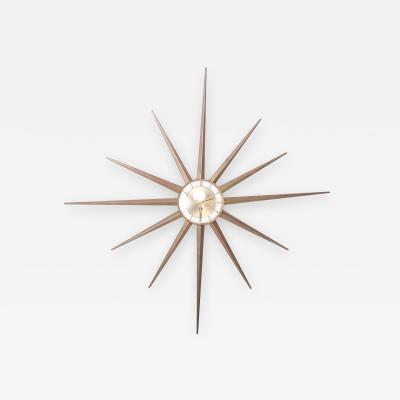 Mid Century Modern Atomic Starburst France Vintage Wall Clock by Forestville