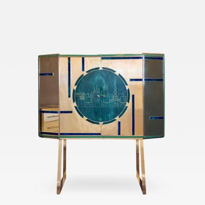 Mid Century Modern Brass Wood Engraved Emerald Green Murano Glass Dry Bar